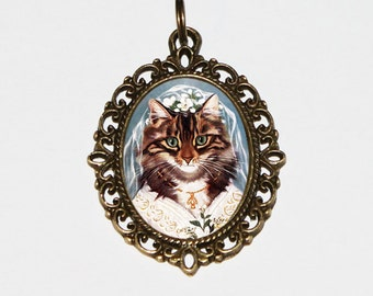 Wedding Cat Necklace, Bride Jewelry, Bronze Oval Pendant, Gift For Bridal Shower