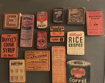 Refrigerator magnets vintage kitchen decor advertisements coffee campbell's soup elixers country kitchen shabby chic granny chic