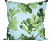 Fig Leaf pillow cover in Original on Blue