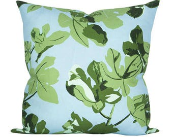 Fig Leaf pillow cover in Original on Blue - ON BOTH SIDES