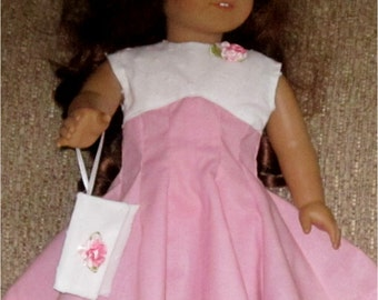 "Pink White Dress Pillbox Hat Wristlet Purse  3 Piece Outfit Fits American Girl or Similar 18"" Doll"