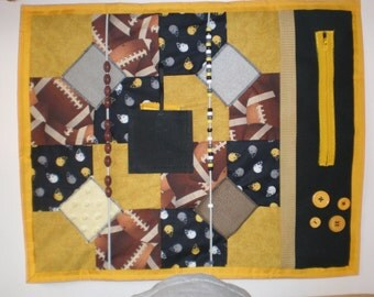 Lap Sensory Fidget Quilt 9 Football Themed