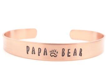 mens bracelet, mens jewelry, copper bracelet, papa bear bracelet, fathers day gift, mens gift, dad gift, husband gift, custom hand stamped