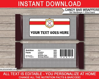 Fireman Theme Party - Candy Bar Wrappers - Party Favors - Chocolate Labels - INSTANT DOWNLOAD with EDITABLE text - you personalize at home