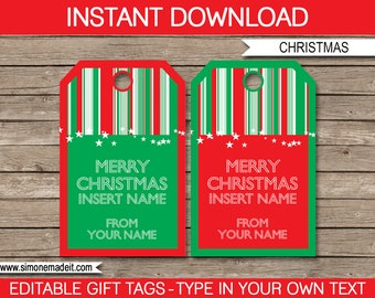 Christmas Gift Tags - Christmas Tags - Merry Christmas Gift Tags - Printable Gift Tags -  Custom Tags - INSTANT DOWNLOAD with EDITABLE text