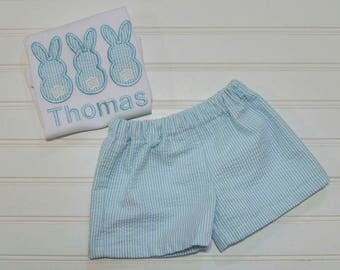 Baby Boy Easter Clothes, Three Bunny Monogrammed Seersucker shorts and shirt, matching brother sister 6m,12m,18m,2t,3t,4t,5