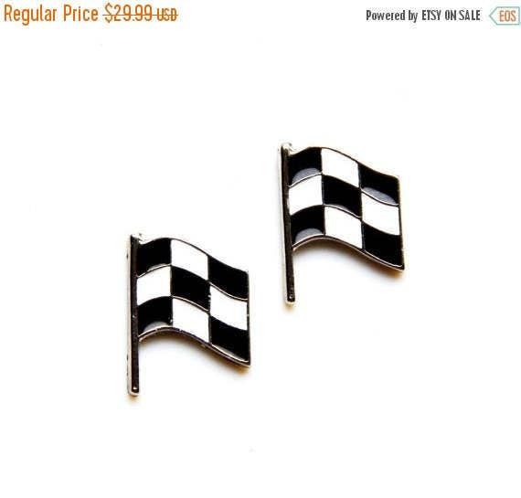 ON SALE Race Car Flag Cufflinks - Gifts for Men - Anniversary Gift - Handmade - Gift Box Included