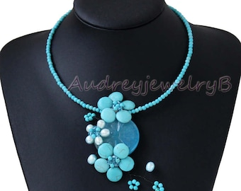 Turquoise beads, Pearl, gem Necklace Natural gem necklace Bridesmaid gift, Mother's Day gift