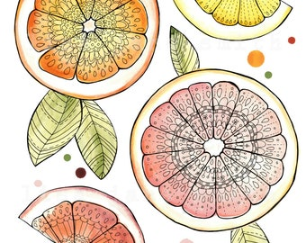 Citrus print - citrus wall art - kitchen art - 8x10 cute art print