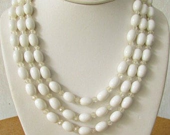 vintage 60s white triple strand bead necklace clear bead accents extender