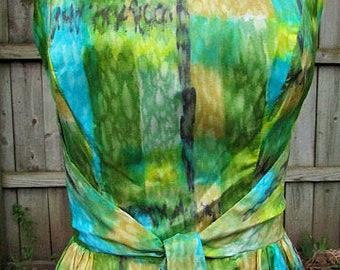 vintage 60s silk watercolor wiggle dress b36 sexy bombshell sundress original caribbean creation  free shipping