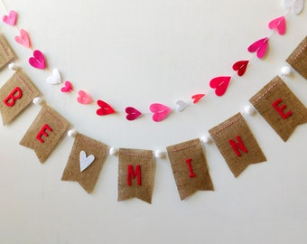 Be Mine Burlap Banner Bunting with White Pom Poms and White Hearts Valentine's Day