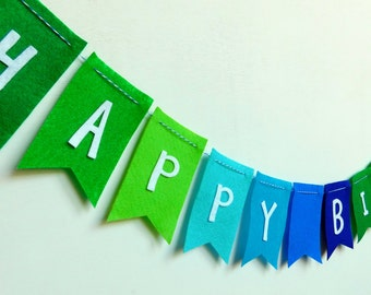 Ombre Green and Blue Happy Birthday Felt Banner