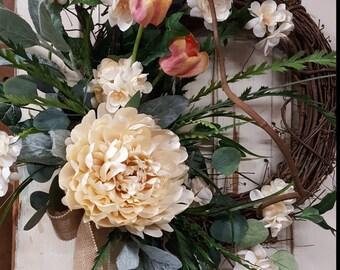 Front Door Wreath, summer wreath, spring wreath, Peony Wreath, Door Wreath, Peony front door Wreath, wedding wreath, front door wreath