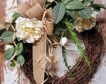 Front door wreath, peonies, tulips,  summer wreath, spring wreath, Greenery Wreath, Wreath All Year Round, Door Wreath