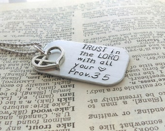 Trust in the lord necklace, trust in the lord with all your heart jewelry, proverbs 3:5, Trust necklace, Dog tag trust, hand stamped trust