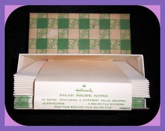 Vintage Recipe Card Note Cards Hallmark 1970s Envelopes Salads Green Plaid Boxed