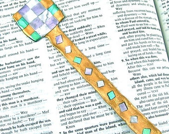 "Checkered Bookmark / Square Checked Pattern Lavender, Purple Metallic Gold & Silver, Sage Green - 6"" Friendly Plastic Modeling Polymer"