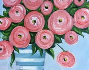 Original oil painting: pink Ranunculus Bouquet in Blue and White Striped Vase, floral , contemporary, babies room, nursery, Teen art