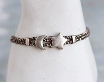 Crescent Moon and Star Bracelet - Sterling Silver Chunky Chain Bracelet - Vintage Oxidized jewelry - Night Sky