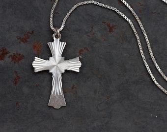 Cross Necklace Sterling Silver - Art Deco Sun Bursts Design