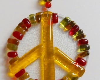 Yellow Peace Glass Sign