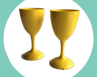 Up cycled Yellow enamelware wine goblets, retro wedding, barware, Vintage Silver Plate Re-surfaced by BMC Vintage Design Studio FOOD SAFE