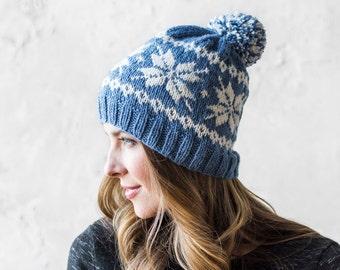 Knitting Pattern-- Knit Frozen Snowflakes Beanie --Knitting Pattern