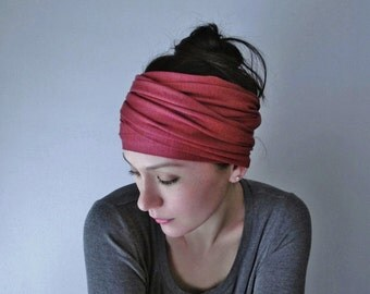 RHUBARB Yoga Headband - Raspberry Jersey Hair Wrap - Workout Hair Accessories - Yoga Head Scarf - Activewear Hair Accessories
