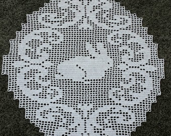 "New 19 x 17.5"" EASTER BUNNY crochet doily"