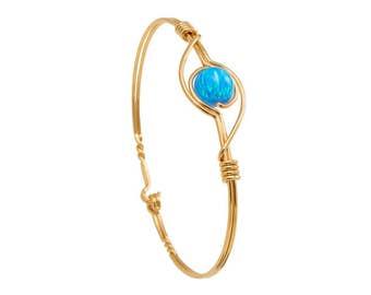 Sky Blue Opal and gold Bracelet
