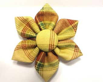 Plaid Flower, Holiday Flower, Red Flower, Red and Yellow Flower, Gold Flower, Gold and Red Flower, Cat or Dog Flower - Sweet Fall Plaid