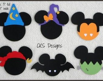 Die Cut Disney Haunted Halloween Mickey Heads Premade Paper Piecing Embellishment for Card Making Scrapbook or Paper Crafts