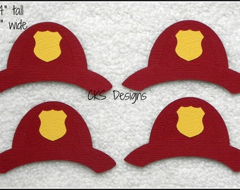Die Cut My Hero Fireman Hats Premade Paper Piecing Embellishment for Card Making Scrapbook or Paper Crafts
