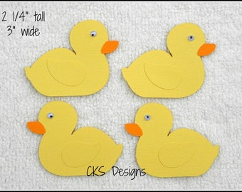 Die Cut Bath Time Rubber Duckies Premade Paper Piecing Embellishment for Card Making Scrapbook or Paper Crafts