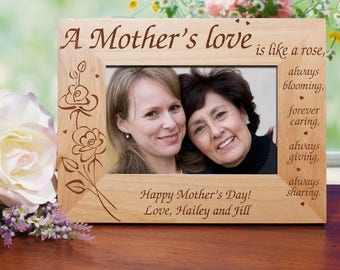 A Mother's Love Engraved Frame, gift for mom, gift for new mom, wood frame, mom picture frame, mother picture frame, love -gfyG118471