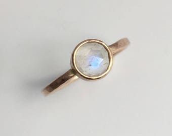 moonstone gold ring, solid 14k, rose cut, alternative engagement ring, stacking ring, rose gold, minimalist jewelry