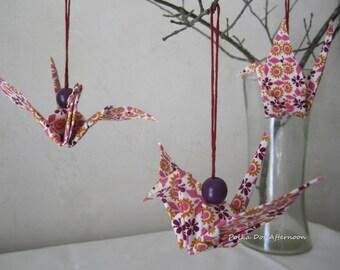 Fabric Origami Crane Ornaments - Set of 3