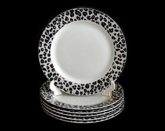 Sakura Nicole Miller Snow Leopard Dinner Plates Vintage Nicole Miller Plates 6 Available