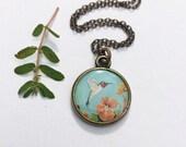 Blue Hummingbird Bronze Necklace