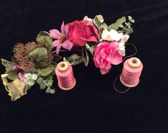 Vintage 2 Corticelli Tailor Dusty Rose Color Size B Silk Thread on Wooden Spools, Vintage Thread, Vintage Silk Thread