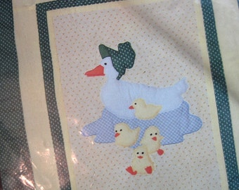 Mama and Baby Duckling Quilt Kit. Unopened vintage 1980s applique baby quilt kit. Vintage fabric, floss,  pattern, instructions. NIP