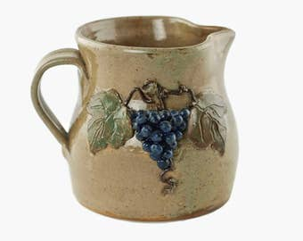 Vintage Wilford Dean Ceramic Pitcher with Dimensional Grape Motif