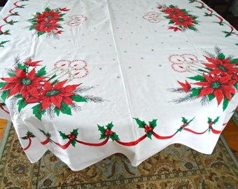 Vintage Christmas Tablecloth / Large Cotton tablecloth / Retro Print / Christmas Candles / Red Poinsettia / Holiday Tablecloth / Oblong