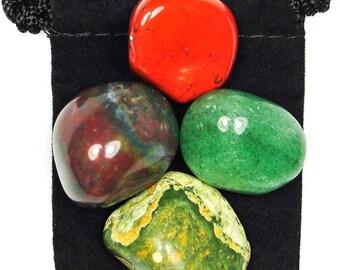 CREATIVITY BOOST Tumbled Crystal Healing Set - 4 Gemstones w/Description & Pouch - Aventurine, Bloodstone, Jasper, Rhyolite