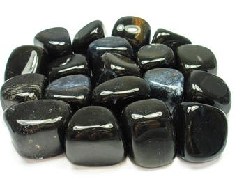 TUMBLED - (2) Medium/Large BLACK ONYX Crystals with Description Card - Healing Stone Reiki