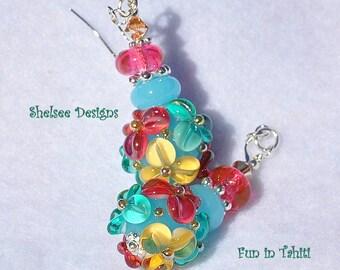 Earrings,Blue Earrings,Floral Earrings,Colorful Earrings,Tropical Earrings,Beach Earrings,Resort Earrings, Dangle Earrings - FUN IN TAHITI