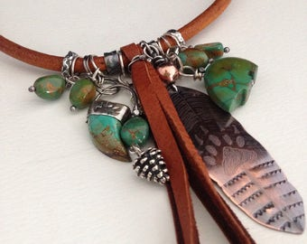 Handmade Jewelry, Southwestern Jewelry, Boho Chic, Bear Charm Necklace, Turquoise and Leather Necklace