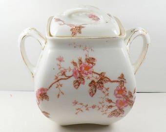 Antique T & V Limoges Porcelain Tea Canister in Marguerite Pink Cherry Blossoms Tressemanes Vogt French Porcelain 1800s