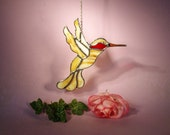 Suncatcher Stained Glass Hummingbird with Ruby Throat  (754)